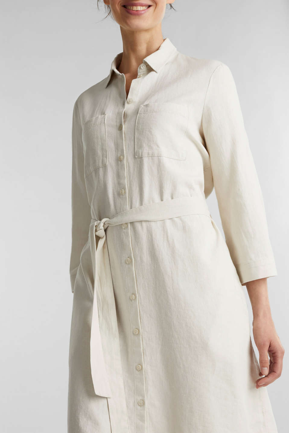 Linen blend: shirt dress, SAND, detail image number 1