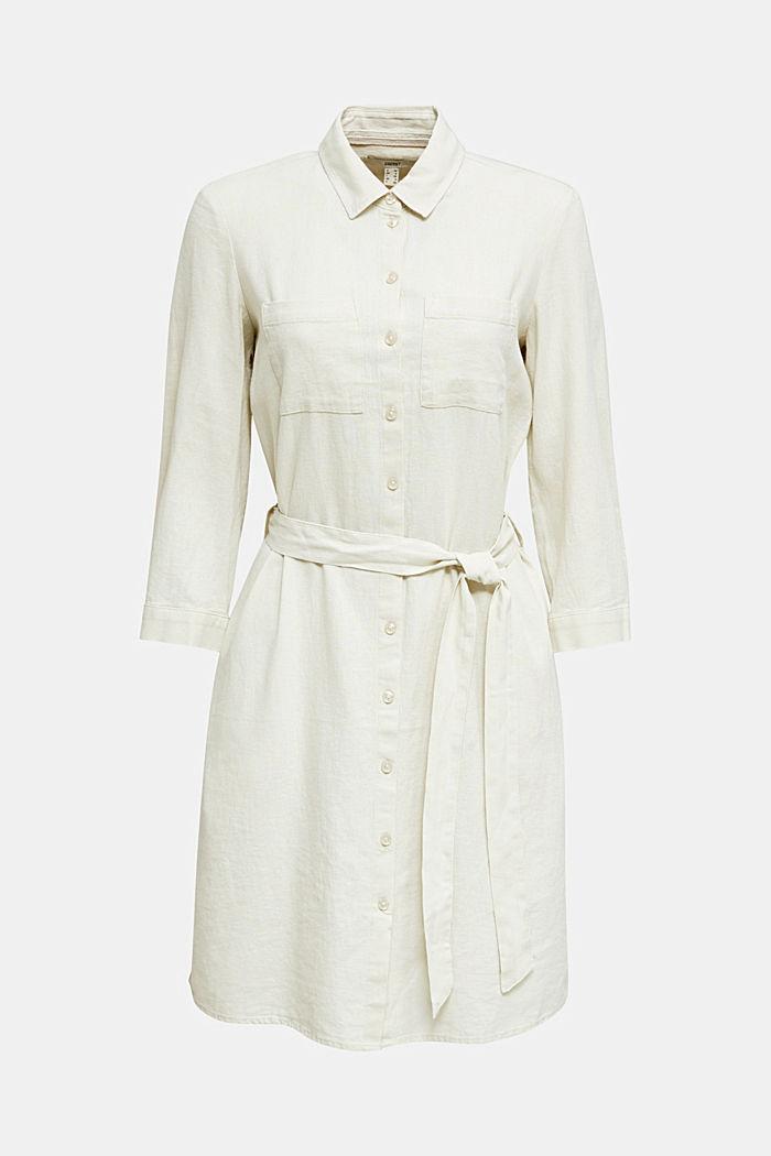 Aus Leinen-Mix: Hemdblusen-Kleid