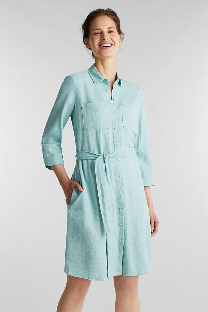 Linen blend: shirt dress, LIGHT AQUA GREEN, detail image number 0