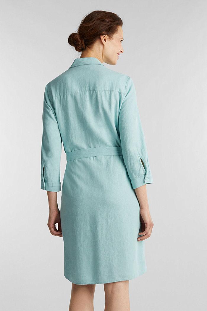 Linen blend: shirt dress, LIGHT AQUA GREEN, detail image number 2