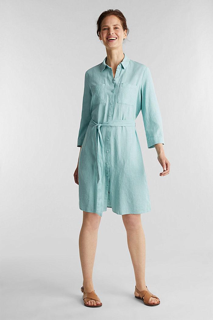 Linen blend: shirt dress, LIGHT AQUA GREEN, detail image number 1