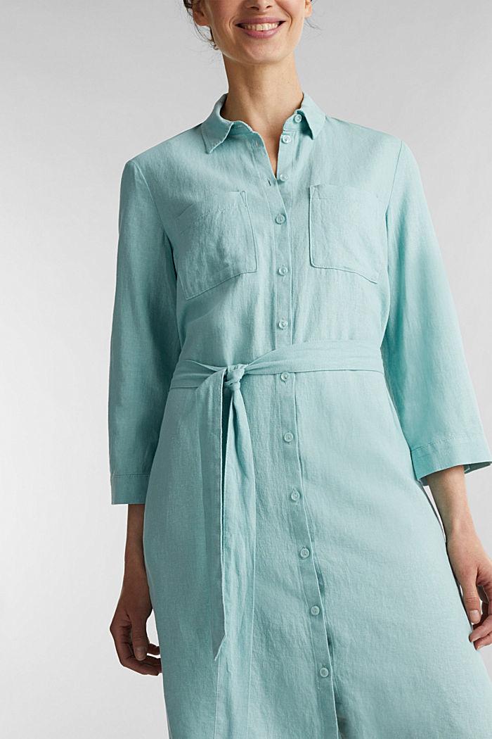 Linen blend: shirt dress, LIGHT AQUA GREEN, detail image number 3