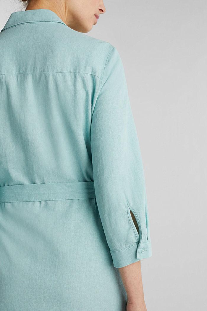 Linen blend: shirt dress, LIGHT AQUA GREEN, detail image number 5