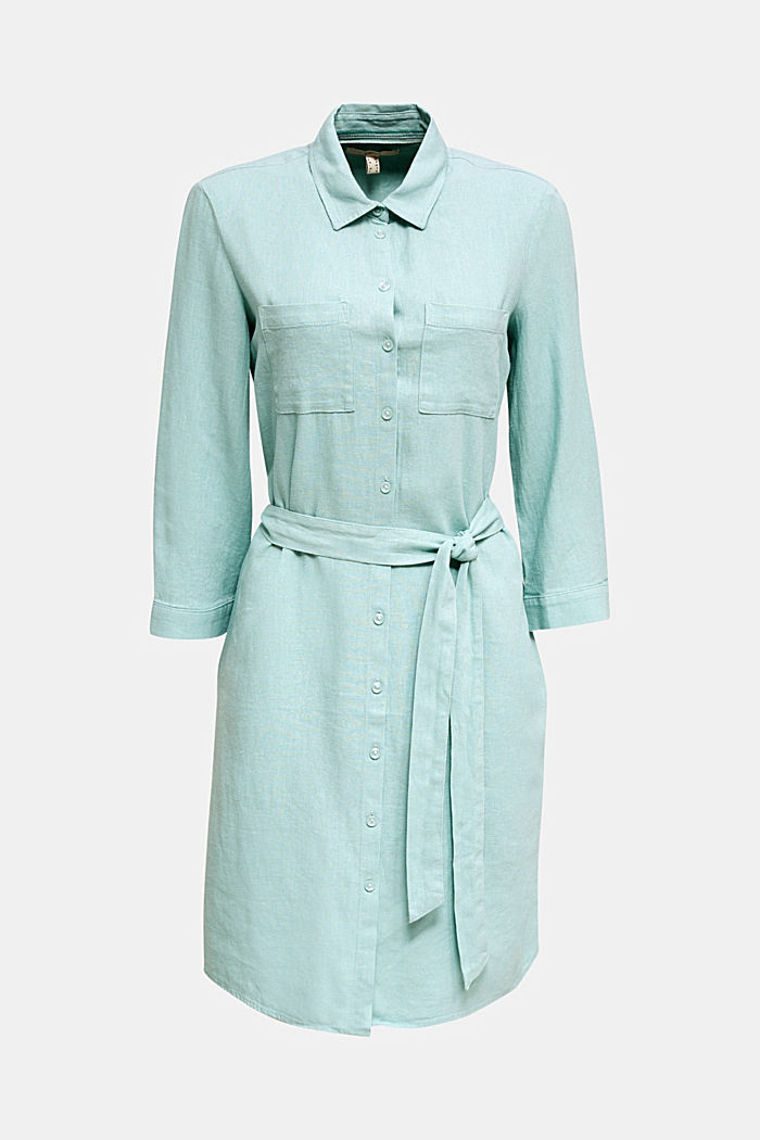 Linen blend: shirt dress, LIGHT AQUA GREEN, detail image number 7