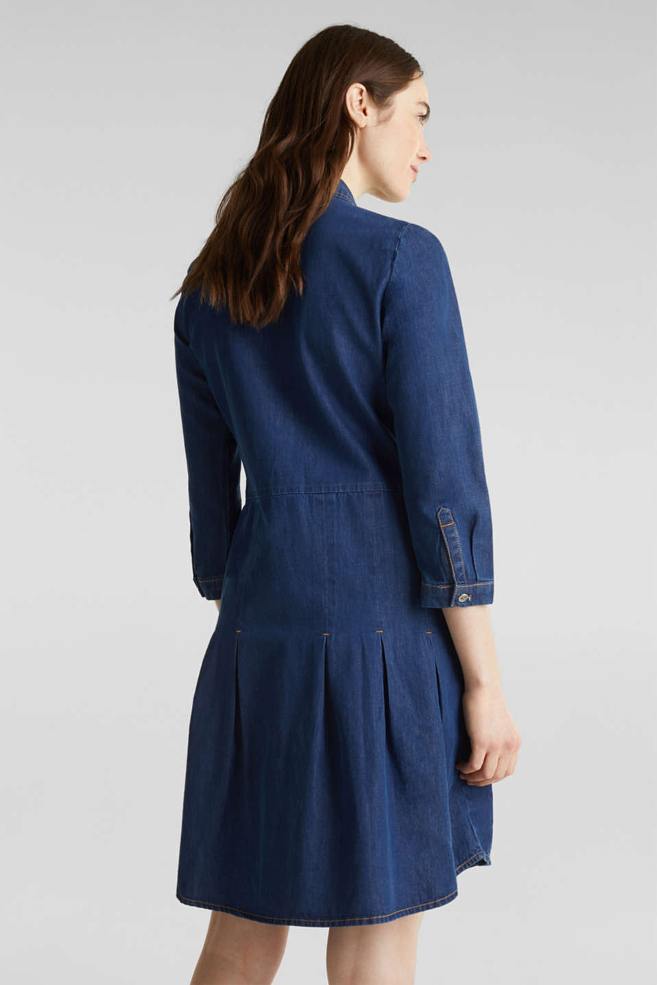Denim shirt dress made of 100% organic cotton, BLUE MEDIUM WASH, detail image number 2