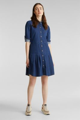 Denim shirt dress made of 100% organic cotton, BLUE MEDIUM WASH, detail