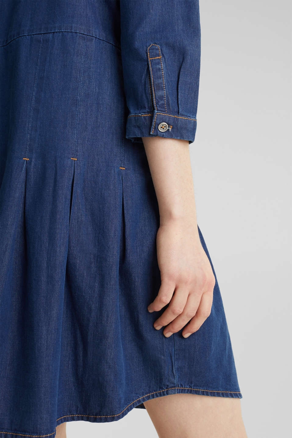 Denim shirt dress made of 100% organic cotton, BLUE MEDIUM WASH, detail image number 3