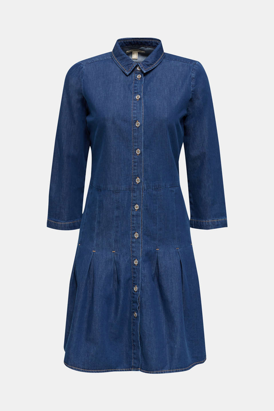 Denim shirt dress made of 100% organic cotton, BLUE MEDIUM WASH, detail image number 6