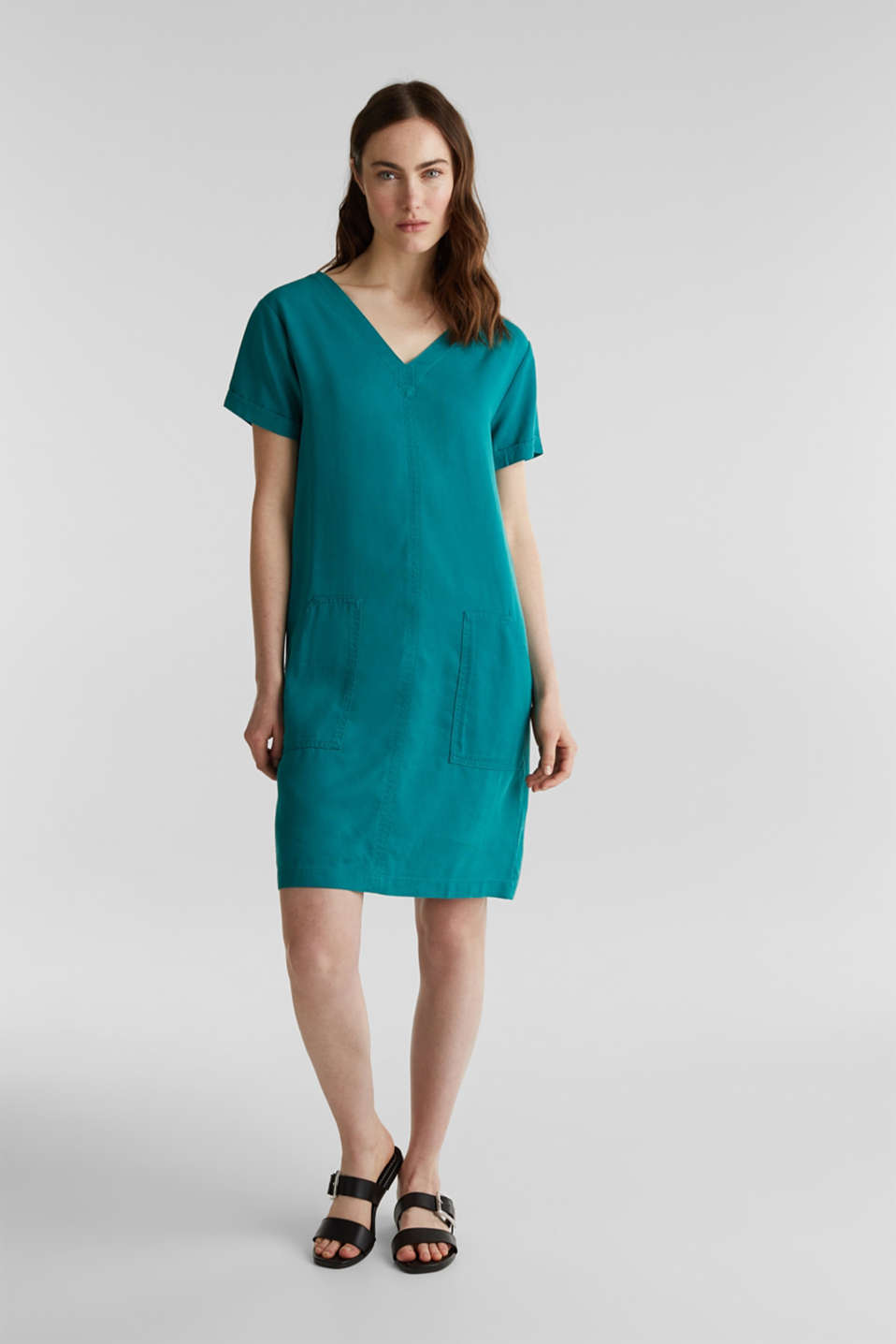 Made of TENCEL™: Dress with pockets, TEAL GREEN, detail image number 1