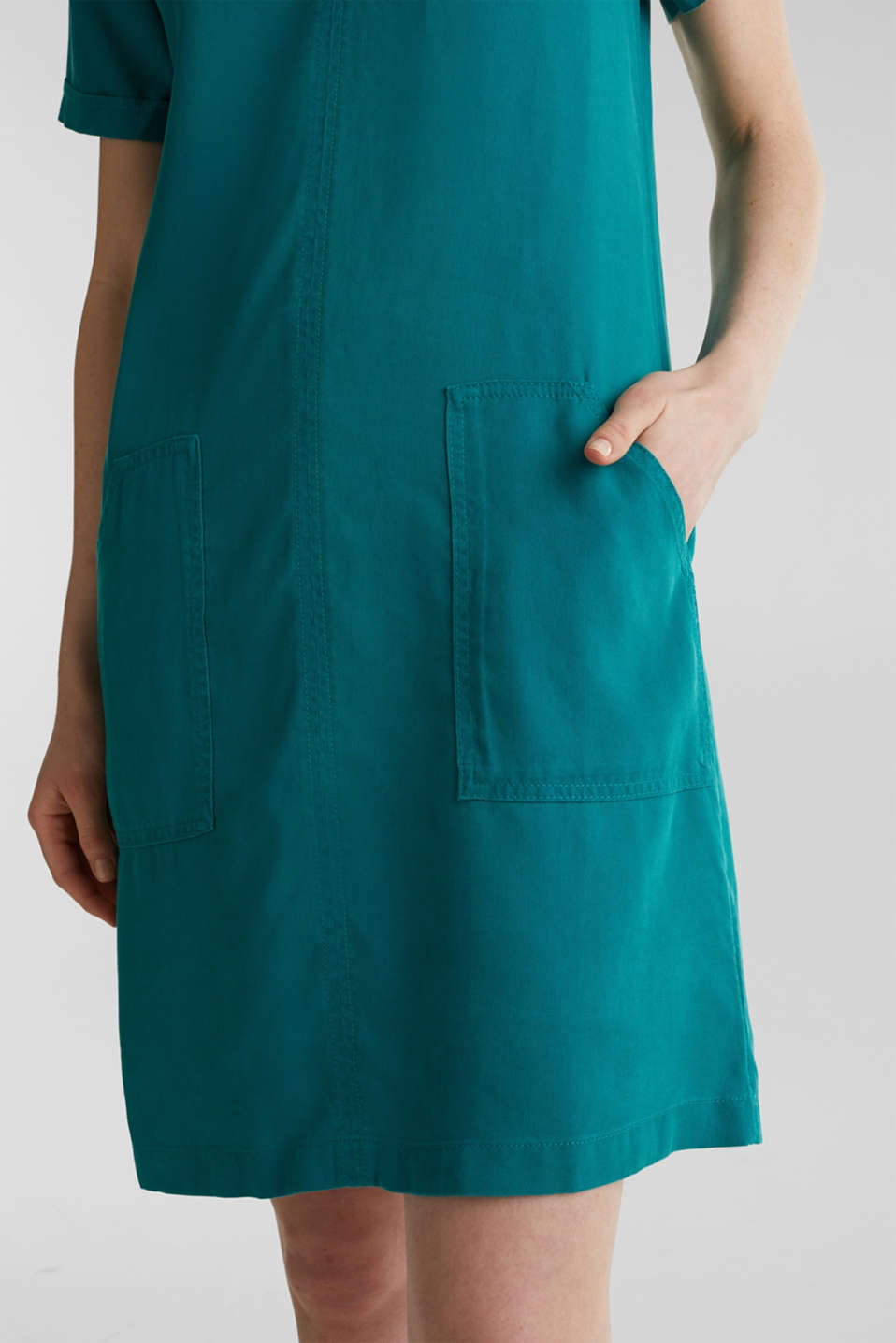 Made of TENCEL™: Dress with pockets, TEAL GREEN, detail image number 3