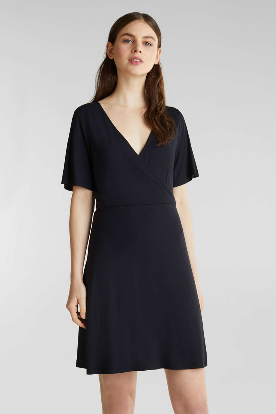 Esprit - Stretch jersey dress with a wrap-over effect