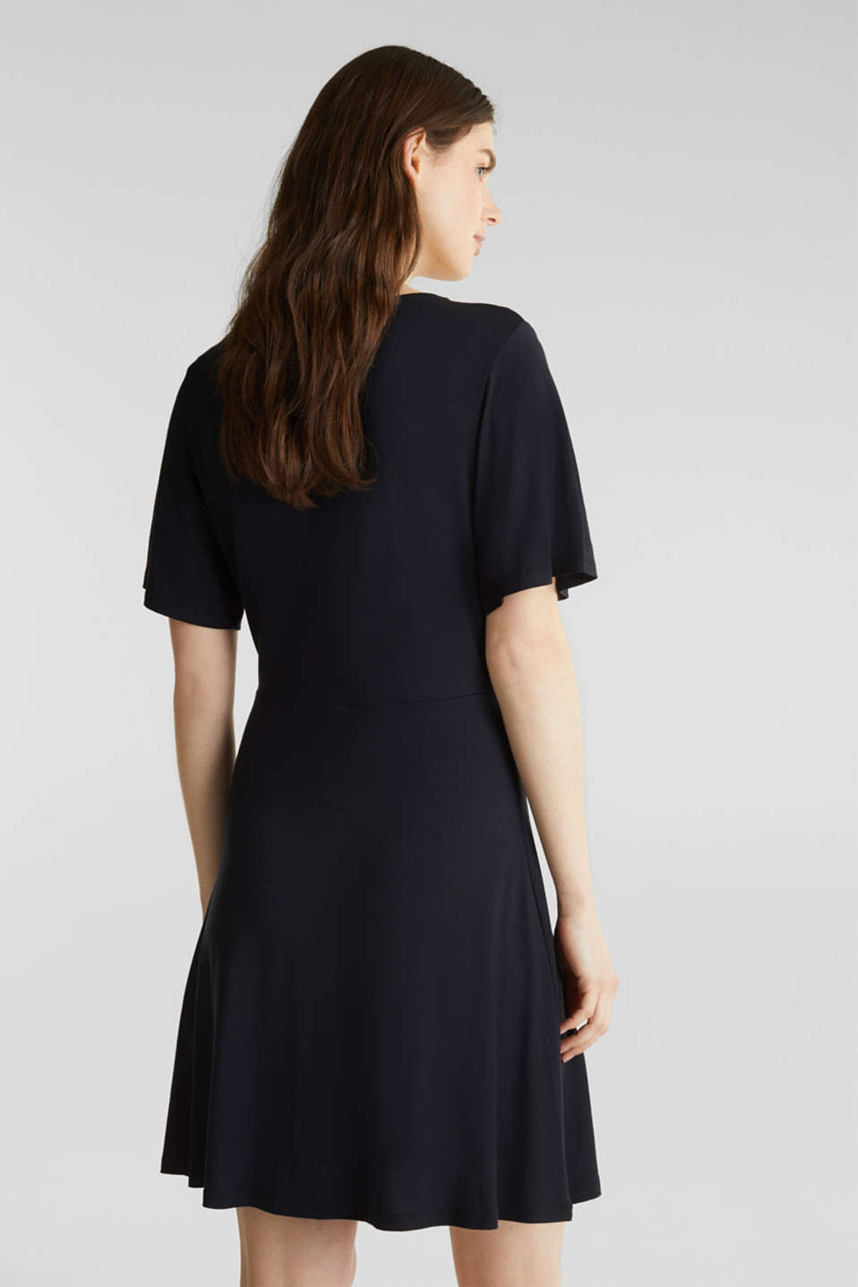 Stretch jersey dress with a wrap-over effect, BLACK, detail image number 2