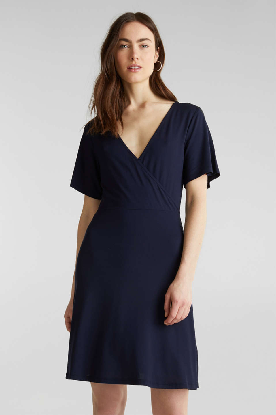 Stretch jersey dress with a wrap-over effect, NAVY, detail image number 0