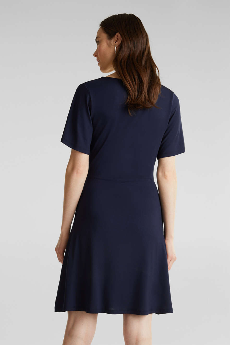 Stretch jersey dress with a wrap-over effect, NAVY, detail image number 2