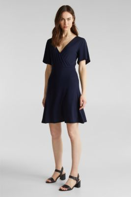 Stretch jersey dress with a wrap-over effect, NAVY, detail