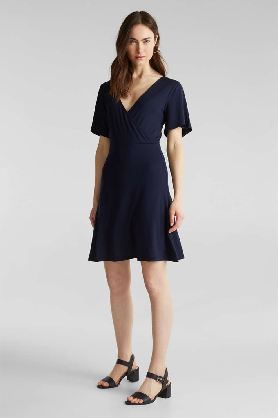 Stretch jersey dress with a wrap-over effect, NAVY, detail image number 1