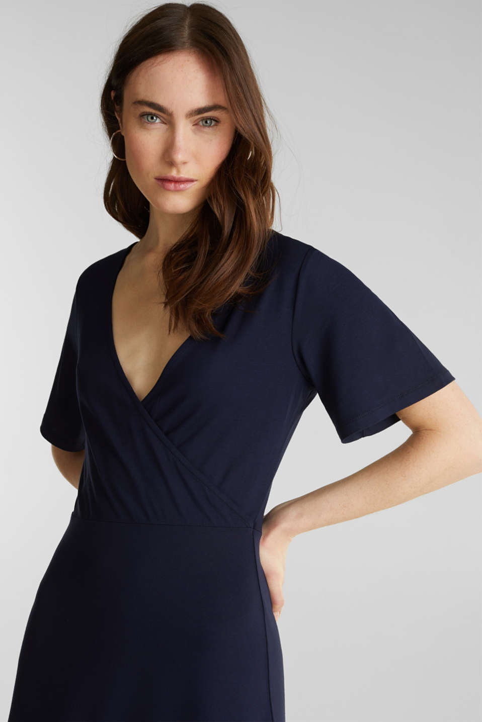 Stretch jersey dress with a wrap-over effect, NAVY, detail image number 5