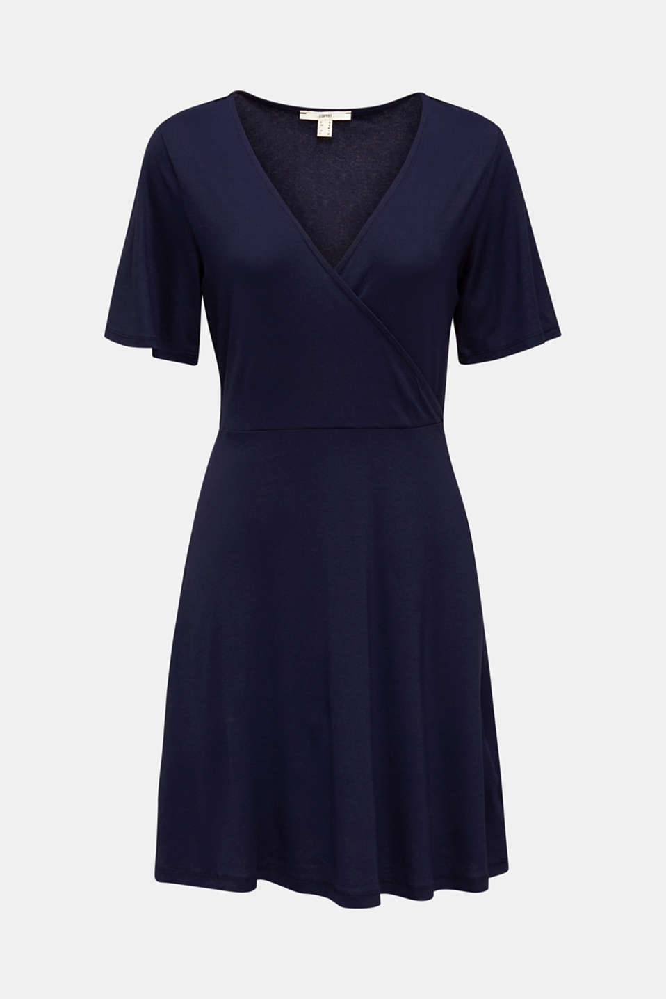 Stretch jersey dress with a wrap-over effect, NAVY, detail image number 6