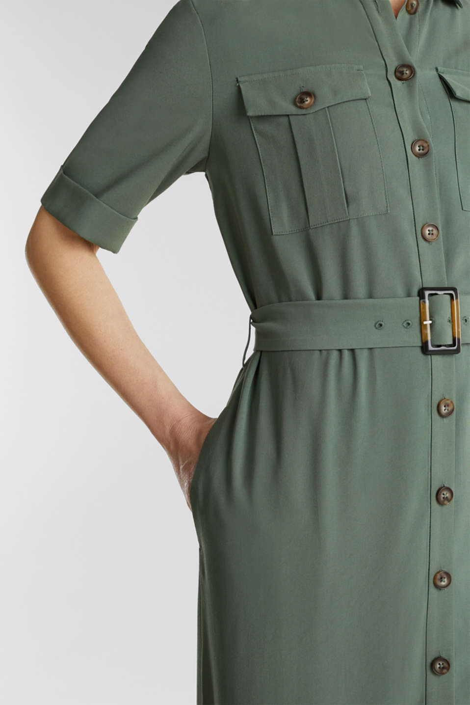 Midi dress in a utility look, KHAKI GREEN, detail image number 0