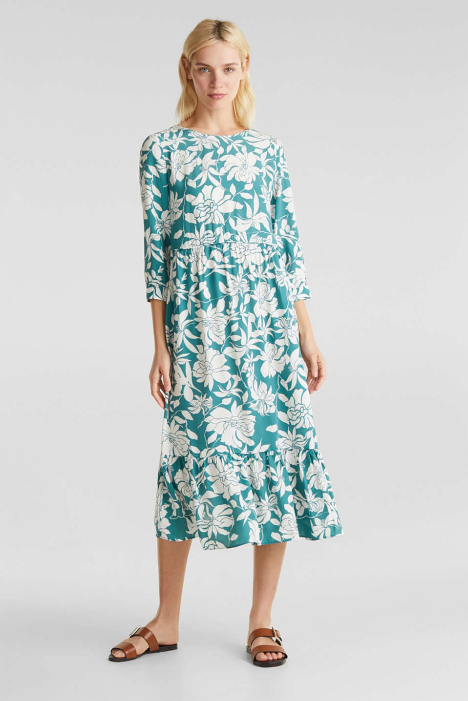 Midi dress with a flounce hem, TEAL GREEN 2, detail image number 0