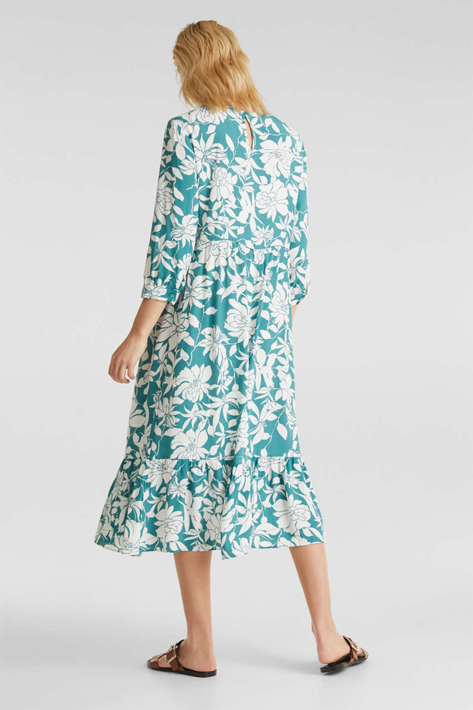Midi dress with a flounce hem, TEAL GREEN 2, detail image number 2
