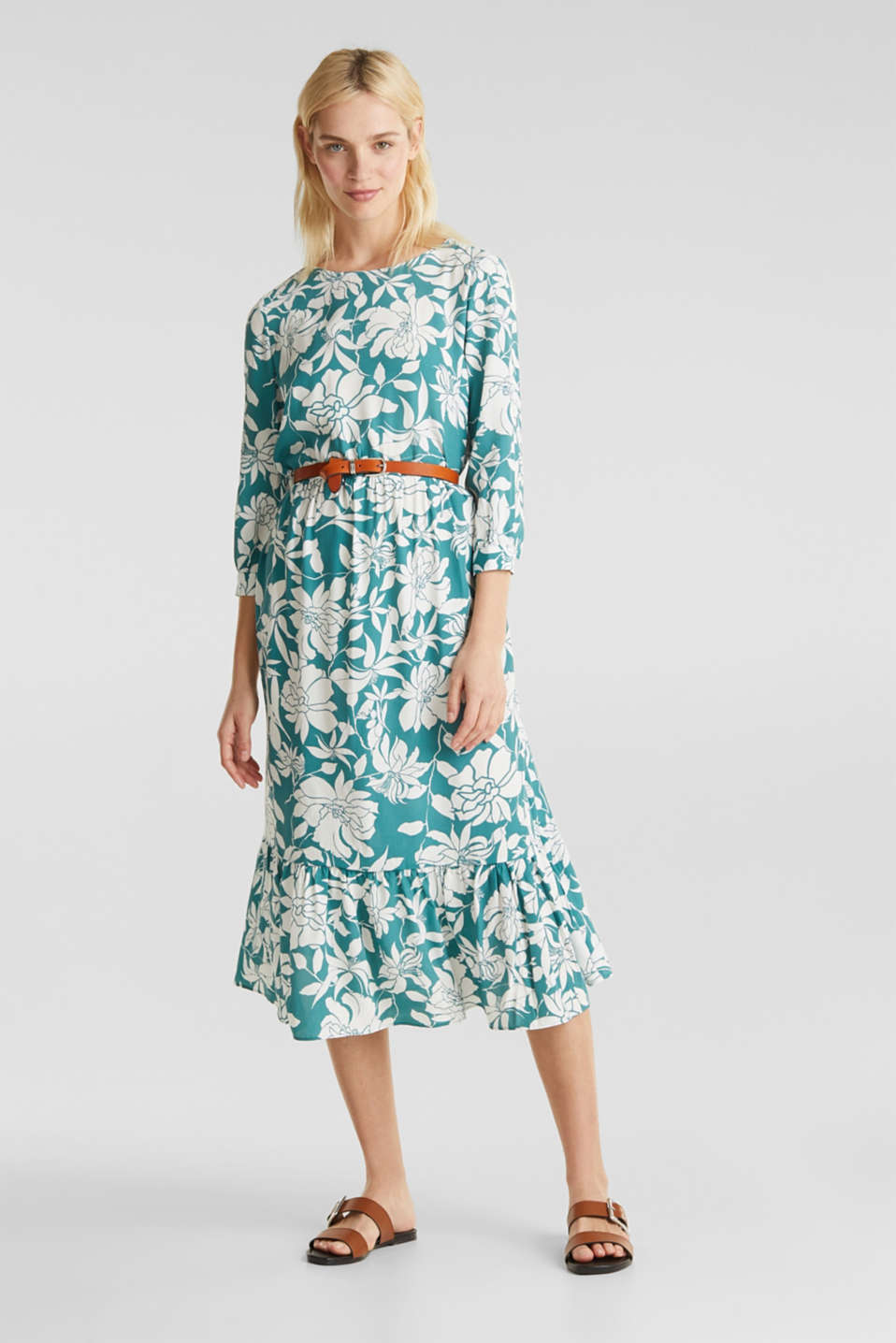 Midi dress with a flounce hem, TEAL GREEN 2, detail image number 1
