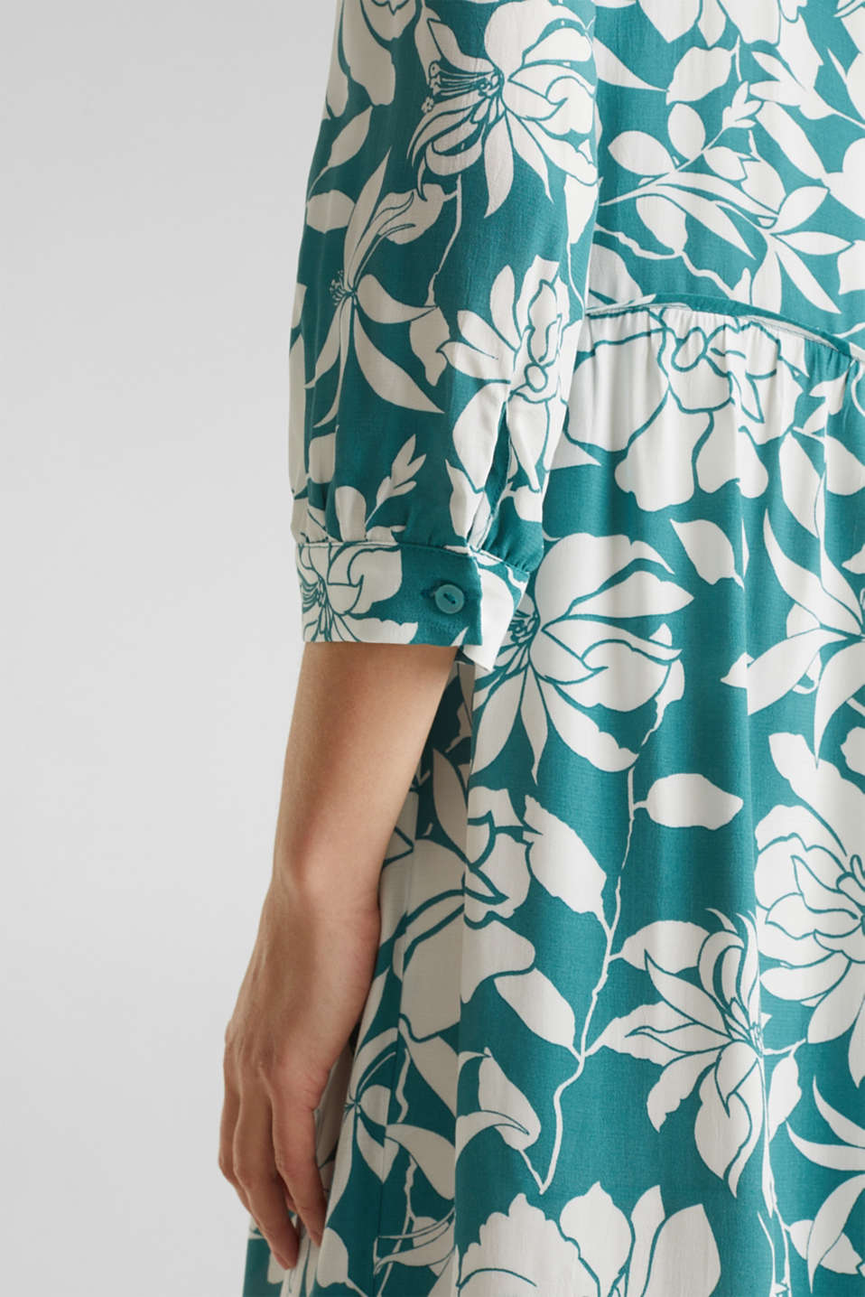 Midi dress with a flounce hem, TEAL GREEN 2, detail image number 3