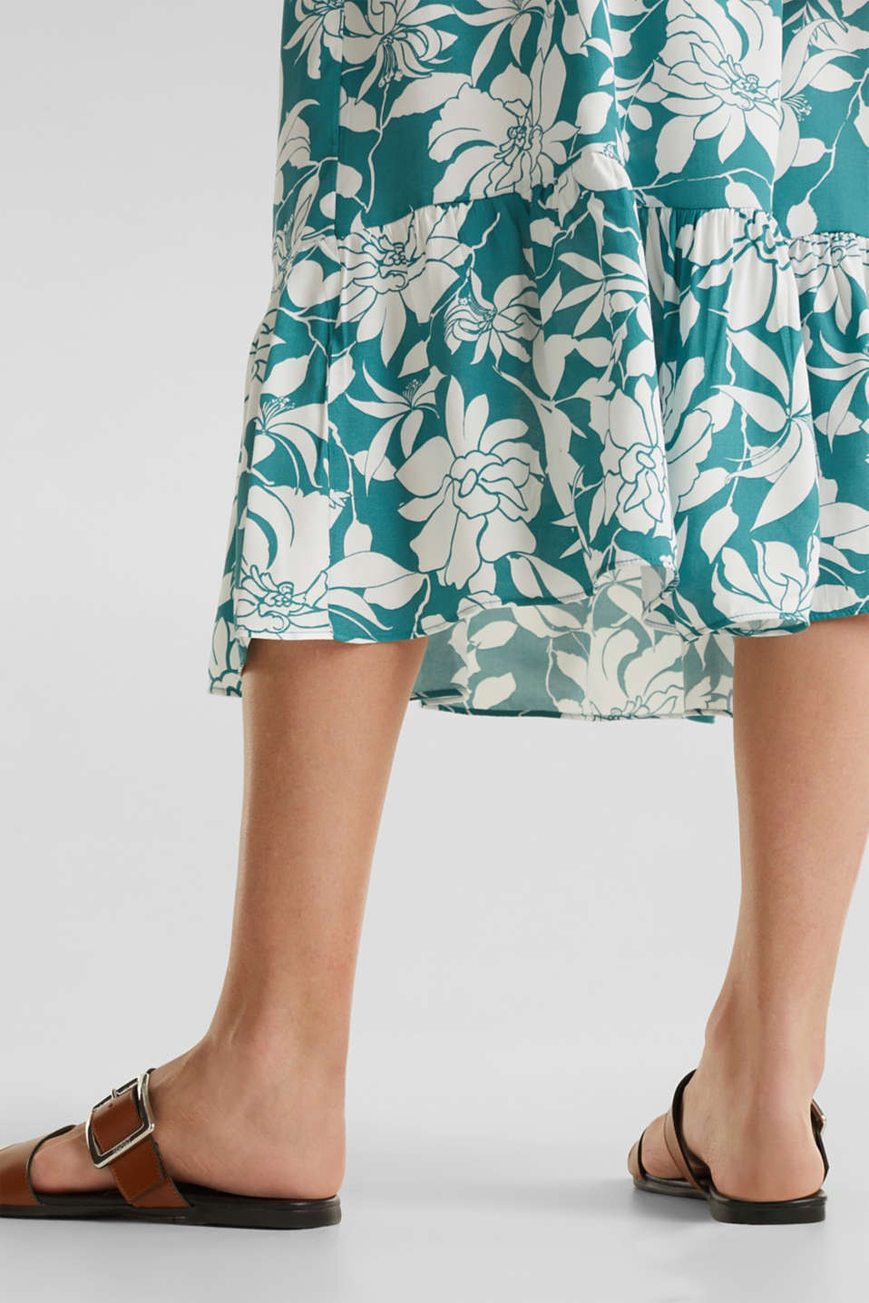 Midi dress with a flounce hem, TEAL GREEN 2, detail image number 6