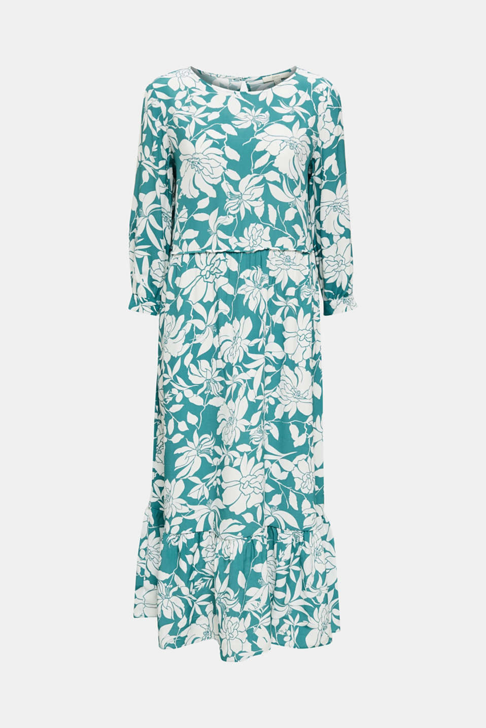 Midi dress with a flounce hem, TEAL GREEN 2, detail image number 8