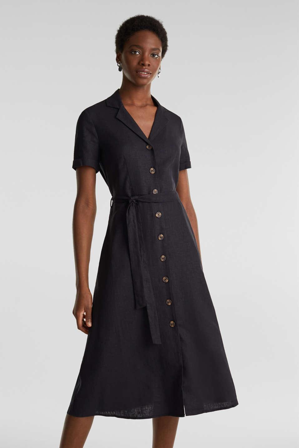 Linen blend: shirt dress, BLACK, detail image number 0