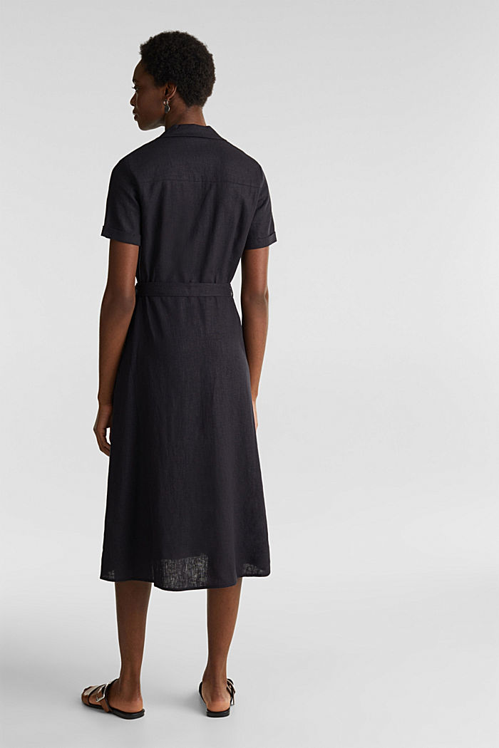 Linen blend: shirt dress, BLACK, detail image number 2