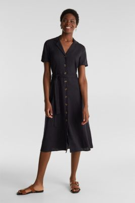 Linen blend: shirt dress, BLACK, detail