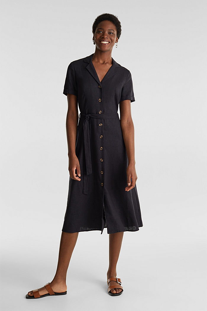 Linen blend: shirt dress, BLACK, detail image number 1