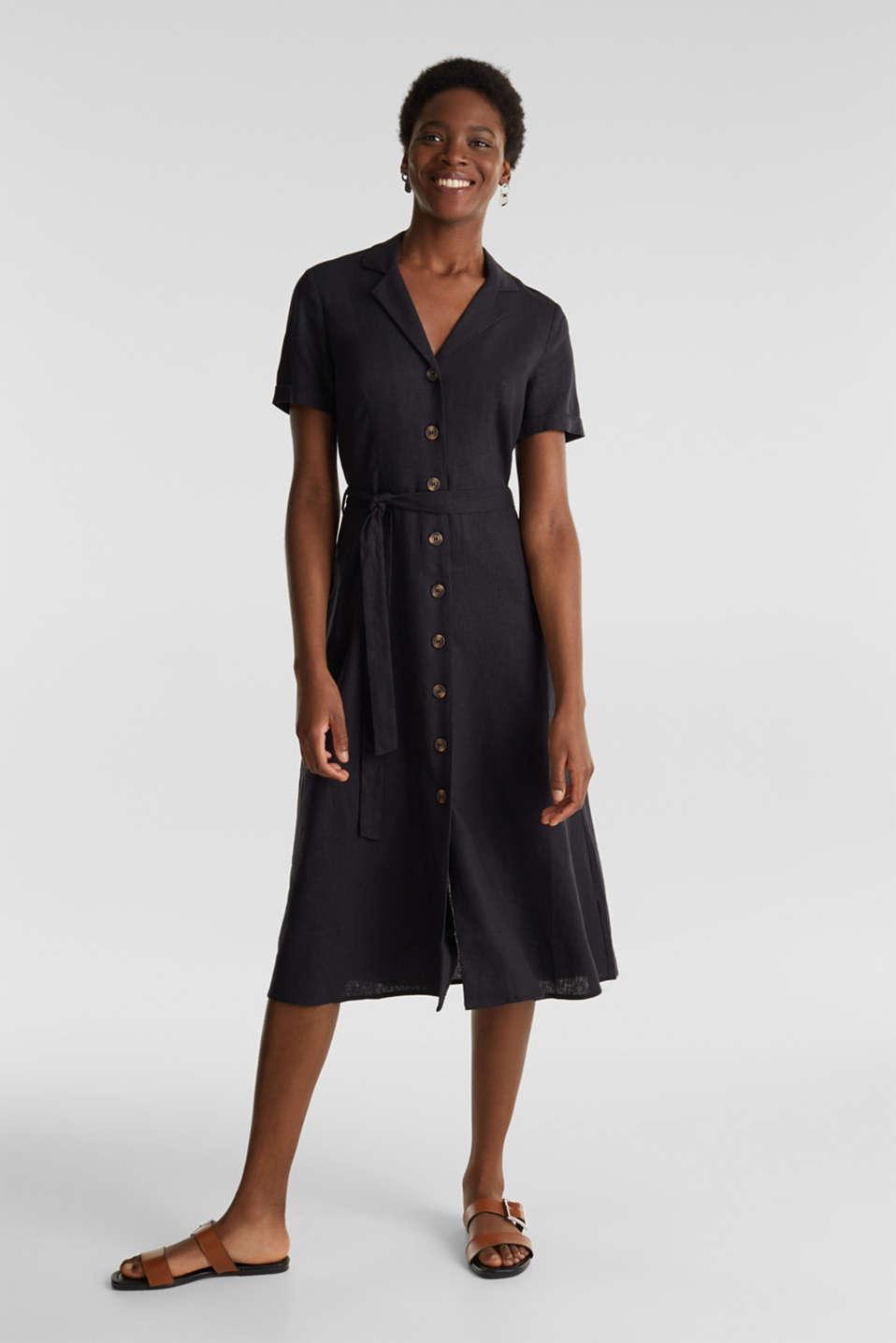 Linen blend: shirt dress, BLACK, detail image number 1