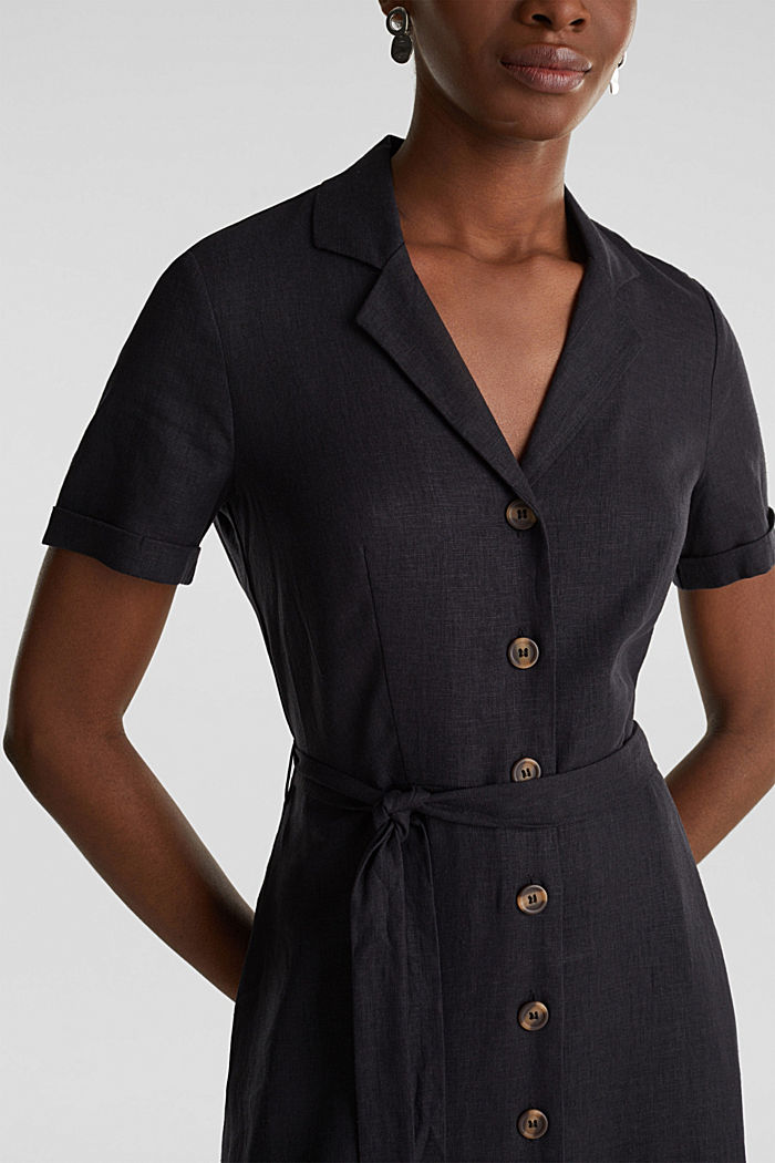 Linen blend: shirt dress, BLACK, detail image number 3