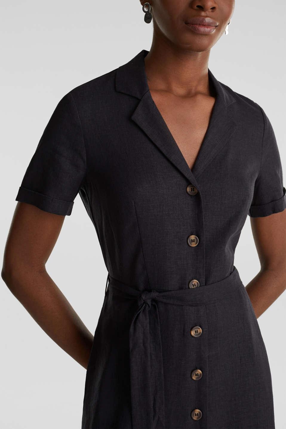 Linen blend: shirt dress, BLACK, detail image number 3