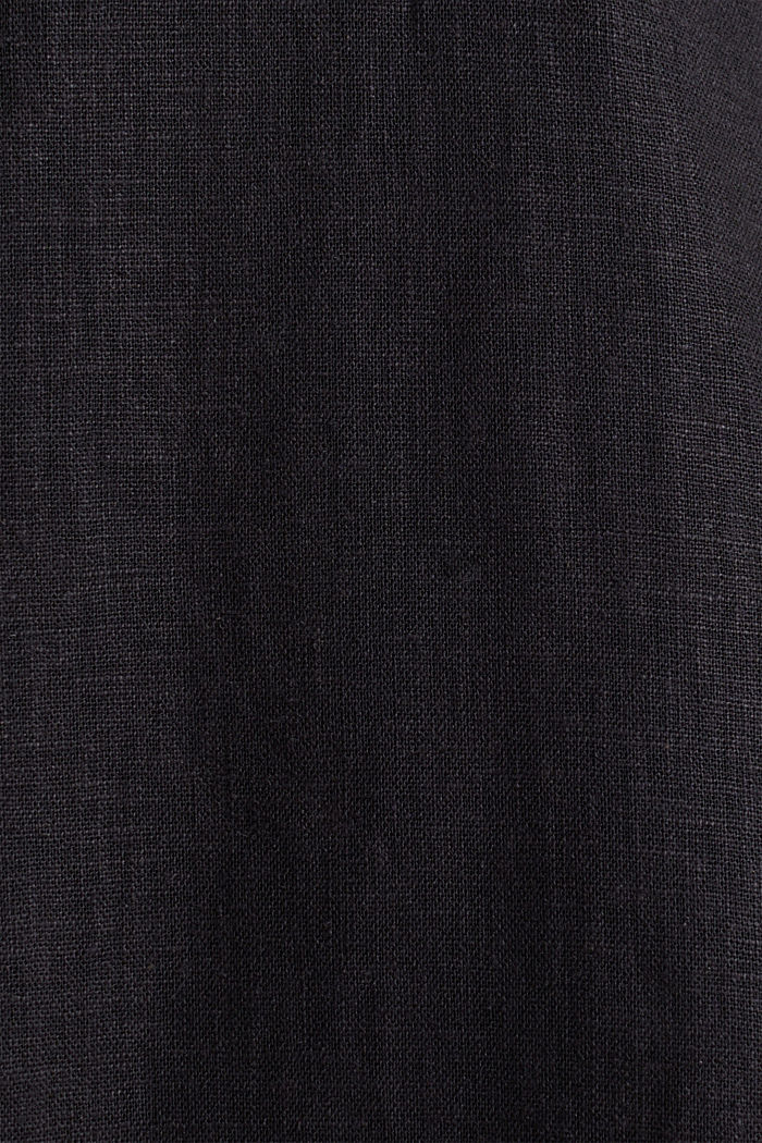 Linen blend: shirt dress, BLACK, detail image number 4