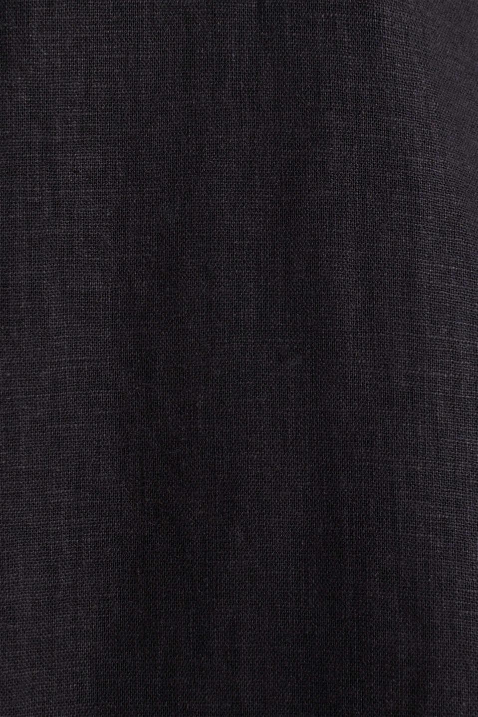 Linen blend: shirt dress, BLACK, detail image number 4