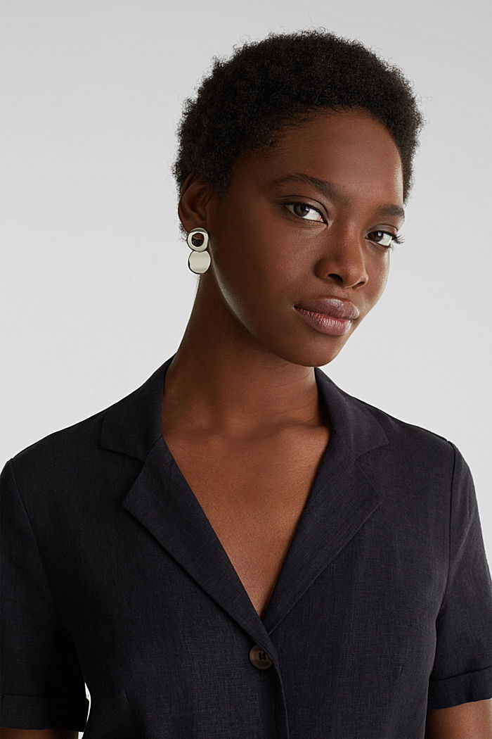 Linen blend: shirt dress, BLACK, detail image number 5