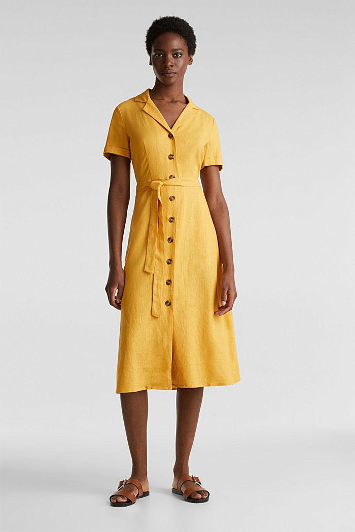 Linen blend: shirt dress, HONEY YELLOW, detail image number 0