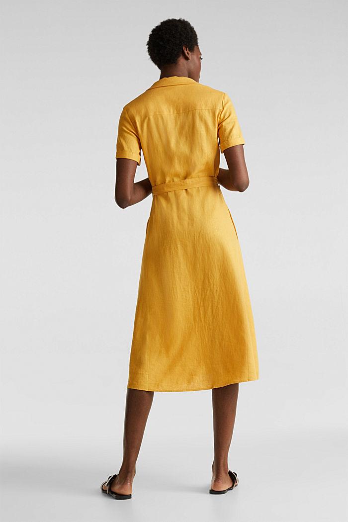 Linen blend: shirt dress, HONEY YELLOW, detail image number 2