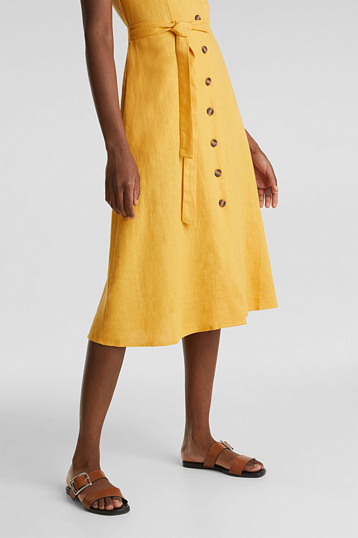 Linen blend: shirt dress, HONEY YELLOW, detail image number 5