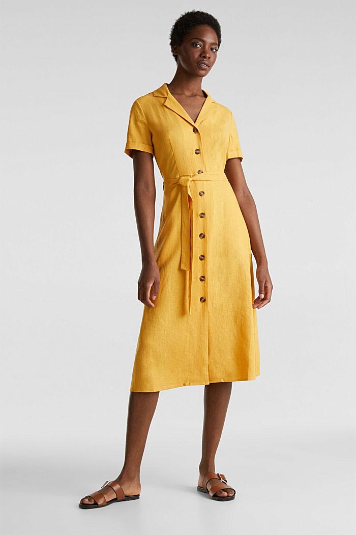 Linen blend: shirt dress, HONEY YELLOW, detail image number 1