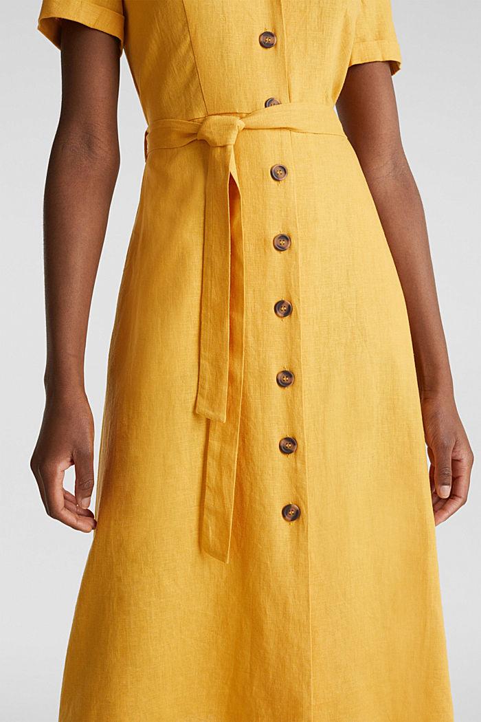 Linen blend: shirt dress, HONEY YELLOW, detail image number 3
