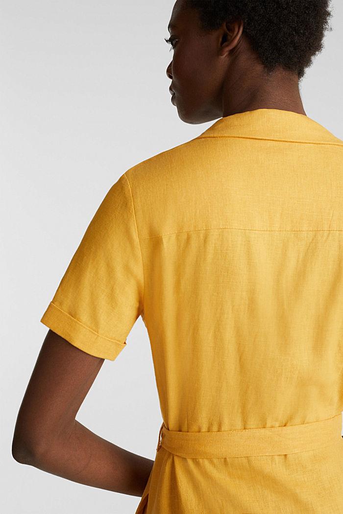 Linen blend: shirt dress, HONEY YELLOW, detail image number 6