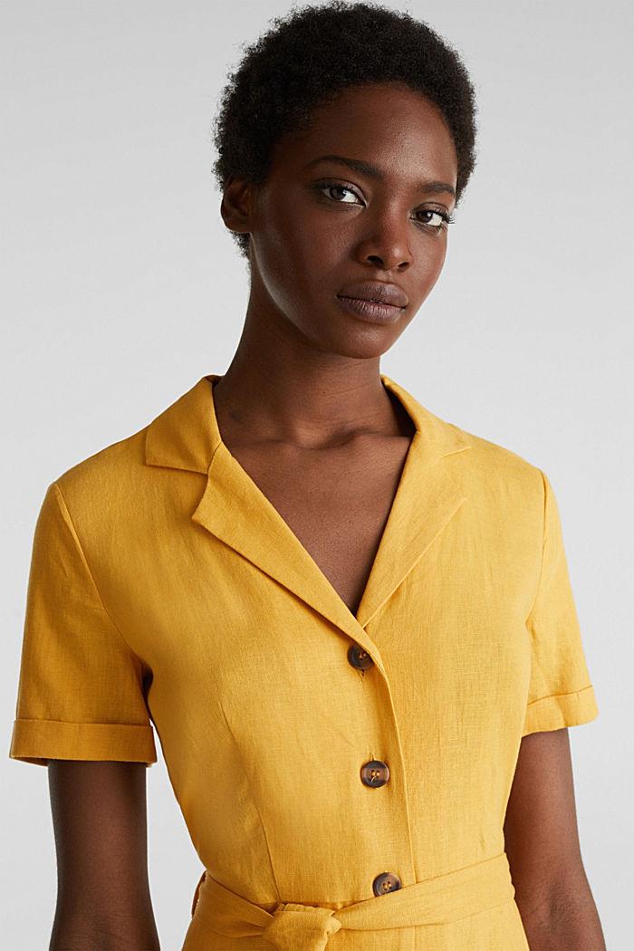Linen blend: shirt dress, HONEY YELLOW, detail image number 7