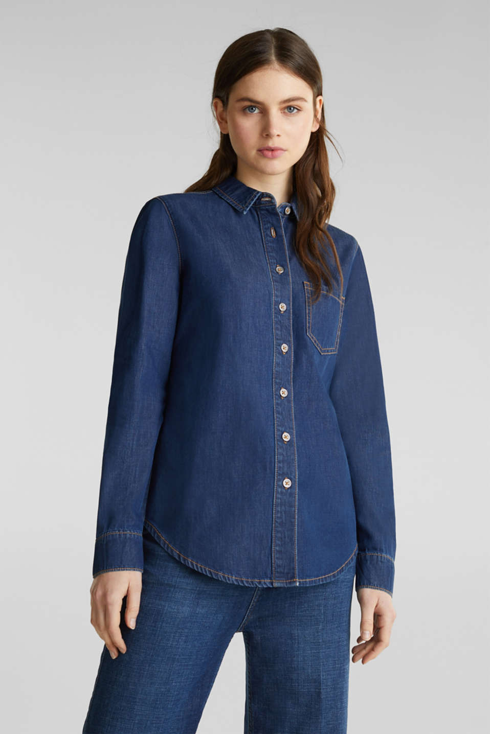 Lightweight dark denim blouse, 100% organic cotton, BLUE MEDIUM WASH, detail image number 0