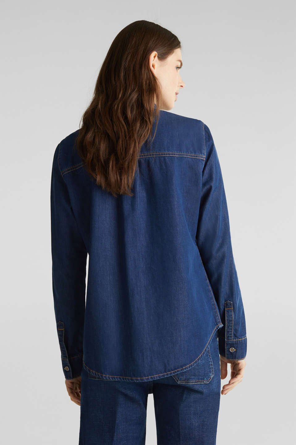 Lightweight dark denim blouse, 100% organic cotton, BLUE MEDIUM WASH, detail image number 3