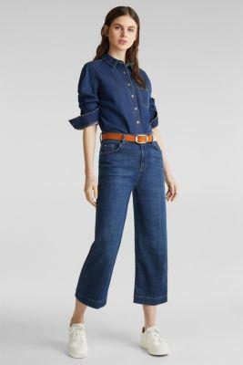 Denim blouse made of organic cotton, BLUE MEDIUM WASH, detail