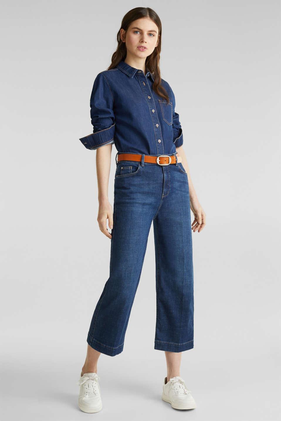 Denim blouse made of organic cotton, BLUE MEDIUM WASH, detail image number 1